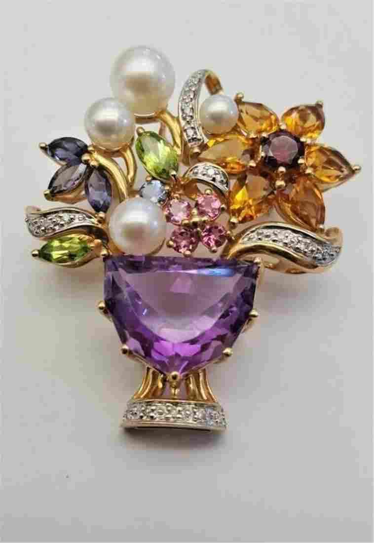 14K Gold Diamond Amethyst Pearls Citrine Peridot &