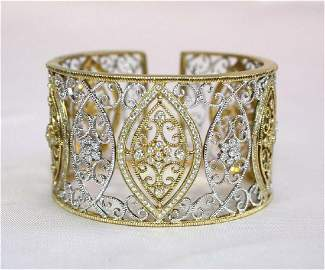 MAGNIFICENT BRAND NEW LESLIE GREEN 18K YELLOW & WHITE