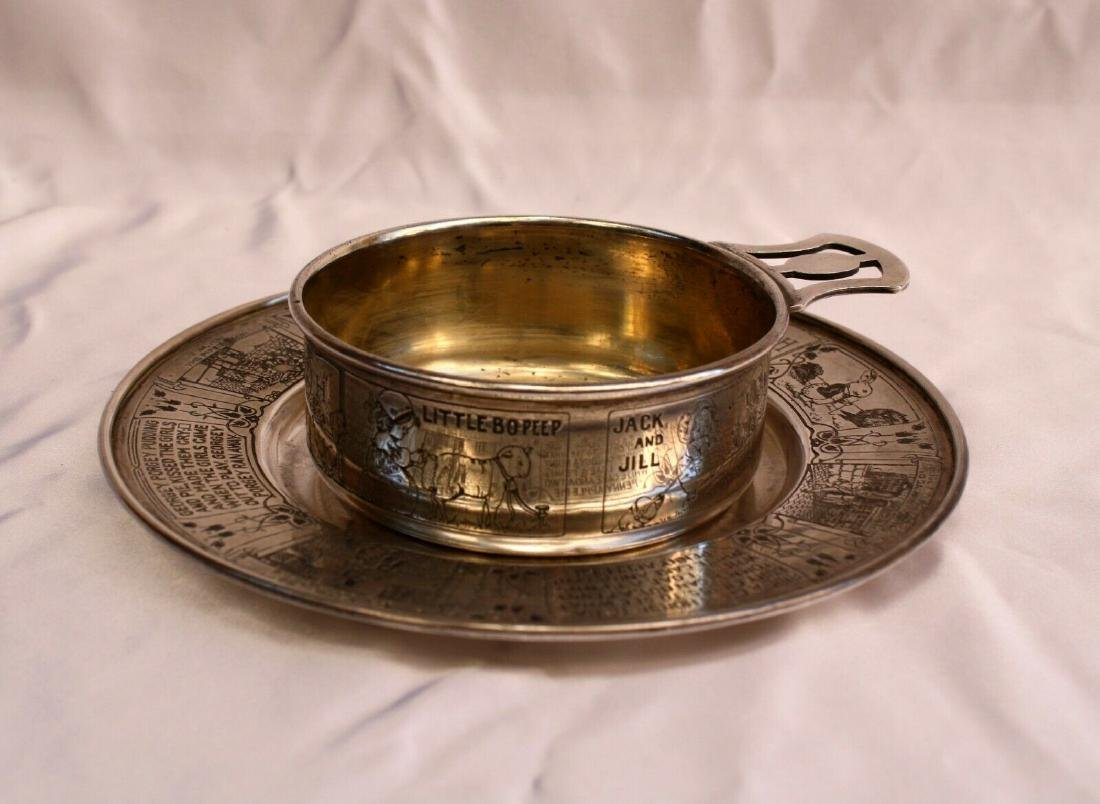 MAGNIFICENT 1900'S 2 PCS STERLING SILVER NURSERY RHYNE