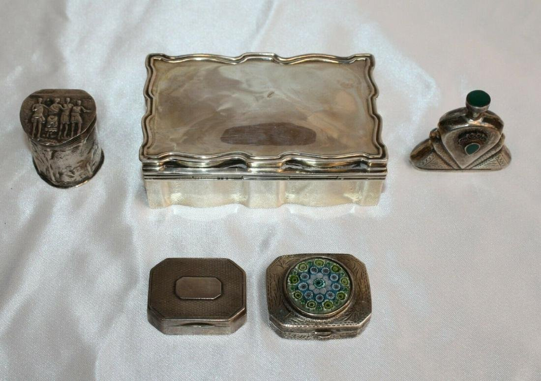 MAGNIFICENT 5 PCS STERLING SILVER ENAMEL PILL BOXES &