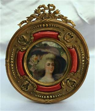 MAGNIFICENT 19C FRENCH ENAMELED DORE BRONZE ROUND