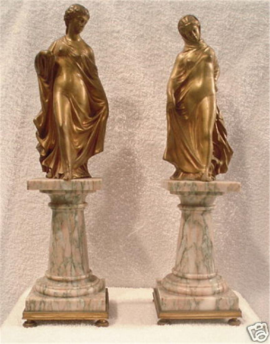 Magnificent Pair Of 19th c French Dore Bronze On Marble