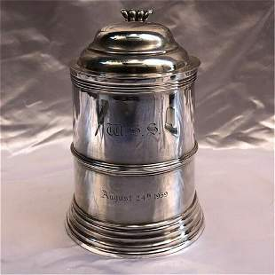 MAGNIFICENT 19C STERLING SILVER ENGLISH TANKARD MADE BY