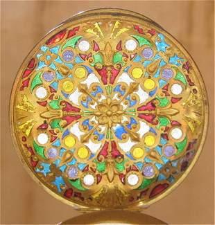 Magnificent 19th C French Pliqueajour Crystal Box