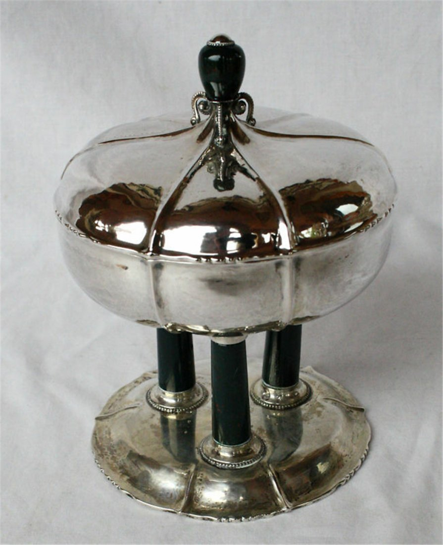 MAGNIFICENT 1920 GERMAN SILVER COVERED DISH WITH AGATE