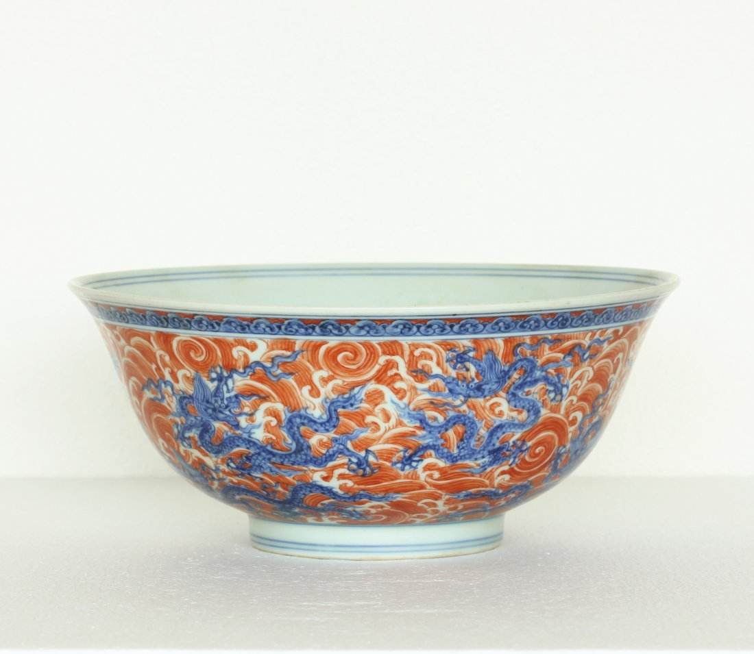 A Chinese Blue And White & Red-Color Porcelain Large