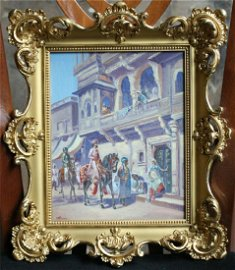 MAGNIFICENT FRENCH 1900 ORIENTRALISM PAINTING IN 22K