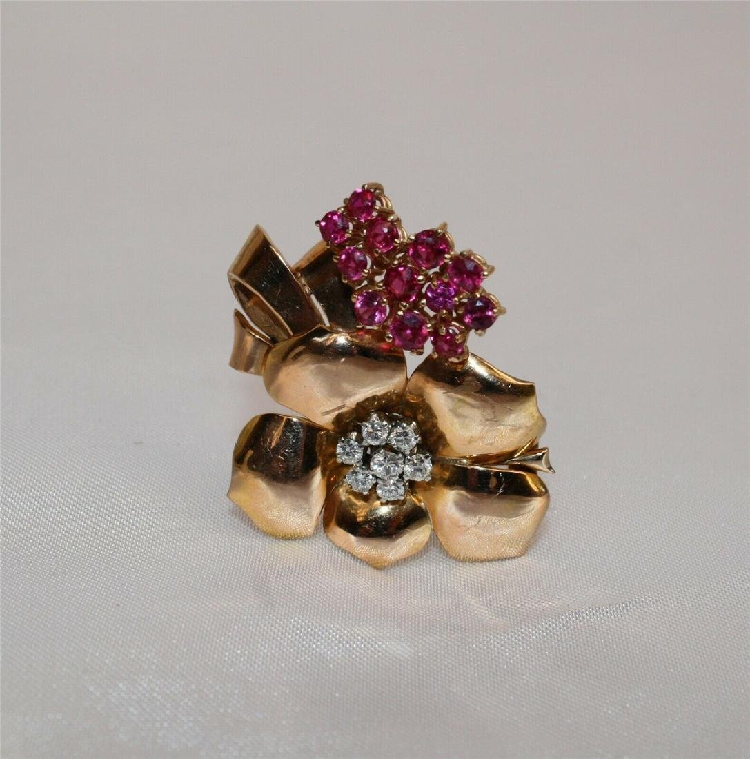 MAGNIFICENT FRENCH RETRO 18K ROSE GOLD DIAMOND RUBY