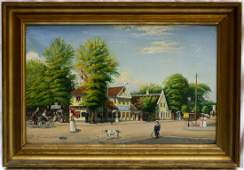 MAGNIFICENT 1899 OIL ON CANVAS PAINTING BY LETTER V