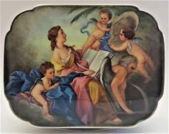 German Sterling Enameling Cherub Painting Box