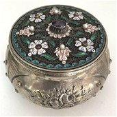 19th Century Austrian Sterling Enamel Pearl & Amethyst