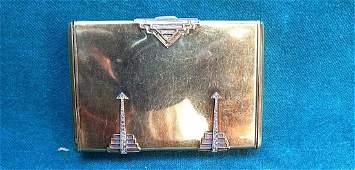 Art Deco 14K Gold Diamond  Platinum Box