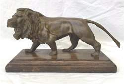 FRENCH 19 CENTURY LION GILT BRONZE ON WOODEN BASE