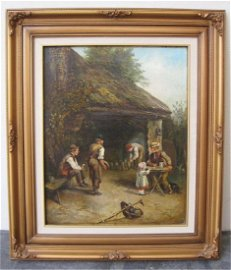 19th Century Belgian School Oil on Canvas Children