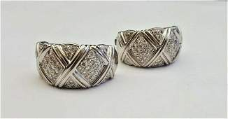 MAGNIFICENT OLD PAIR OF 18K WHITE GOLD & DIAMOND