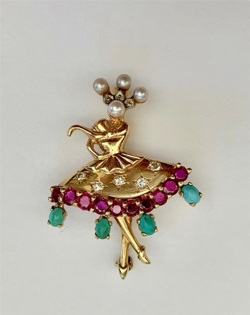 Magnificent Antique 14k Gold Diamonds Turquoise Pearl