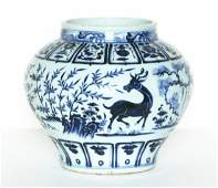 A Chinese Blue And White Porcelain Jar Ming Dynasty.