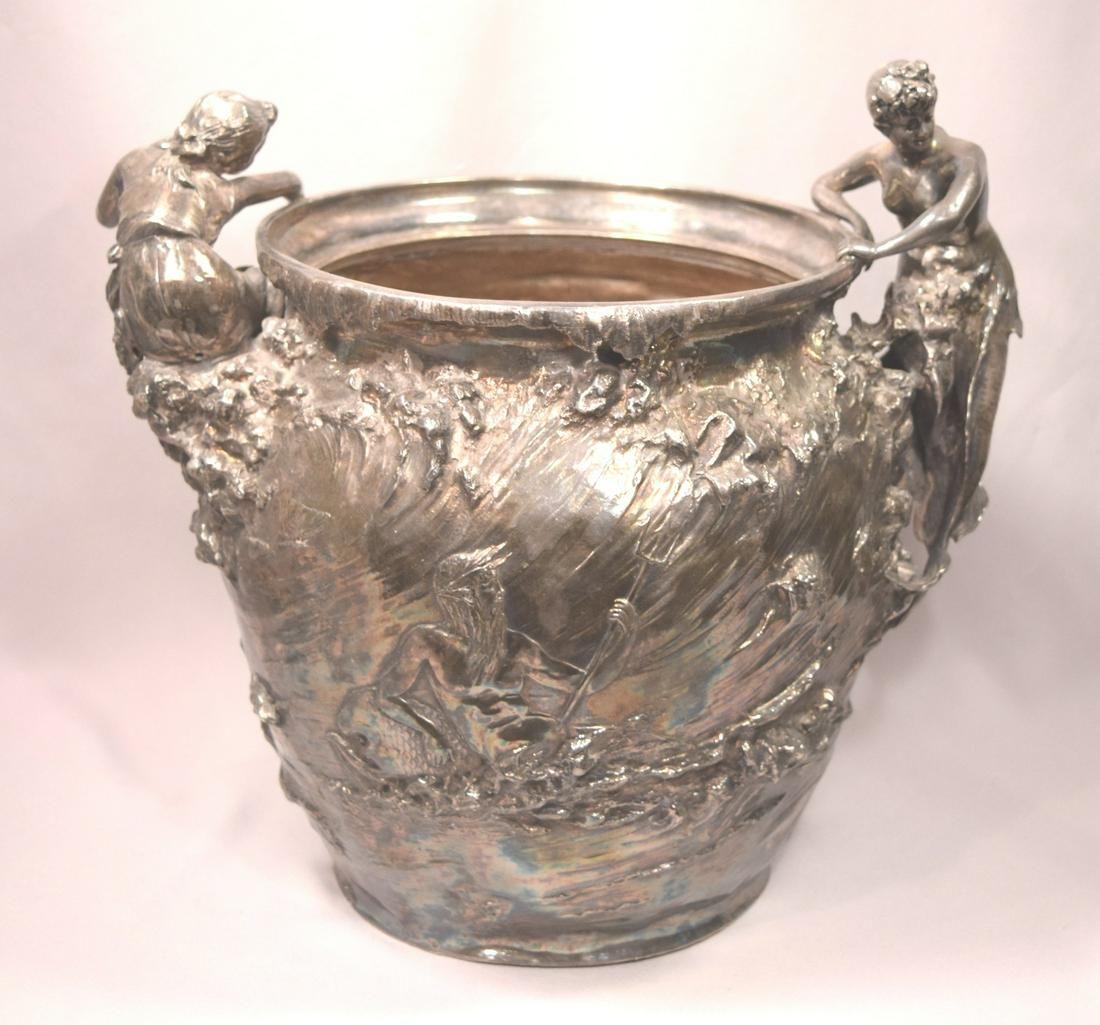 Exquisite Antique Art Nouveau Silvered Metal Mermaid