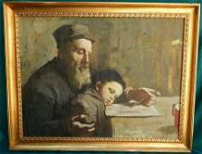 IMPORTANT JUDAICA OIL ON CANVUS PAINTING RABBI AND