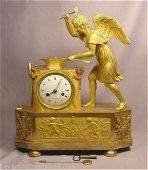 Unique Exquisite Circa 1800 Gilt Bronze French Angel