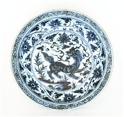 A Chinese Blue And White Porcelain Plate Ming Dynasty.