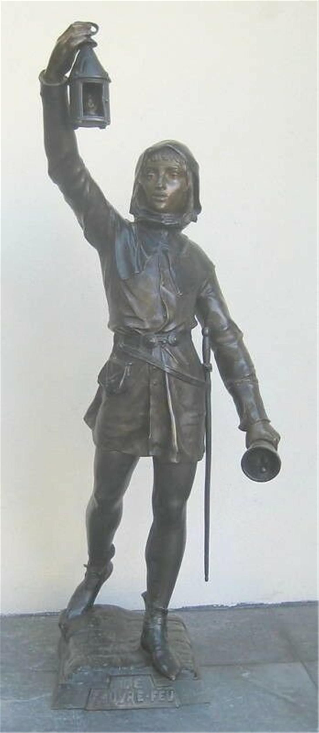 19th C French 32'' High Bronze Statue by Eugene