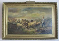 Fine 19th Century French Oil on Canvas Sheep Painting