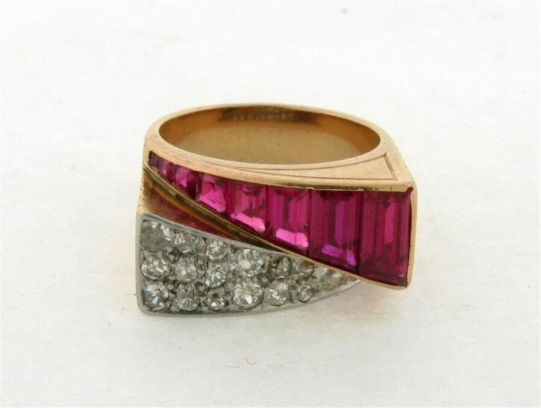 Retro Vintage Ruby Diamond 18K Yellow Gold Bypass Ring