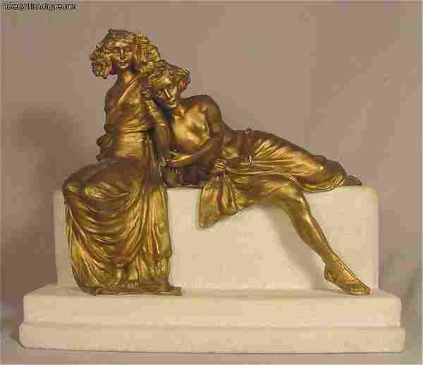 Carl Kauba Antique Art Nouveau Vienna Bronze & Marble