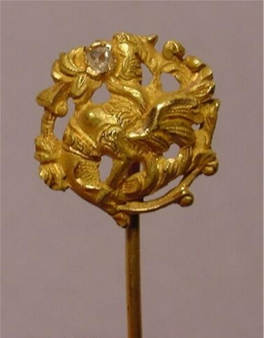 Beautiful Antique Griffin Diamond 18k Gold Stick Pin
