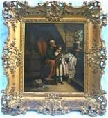 Important Dutch 18 Century School Oil On Canvas Darning