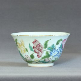 A Chinese Famille-Rose Porcelain Cup Qing Dynasty