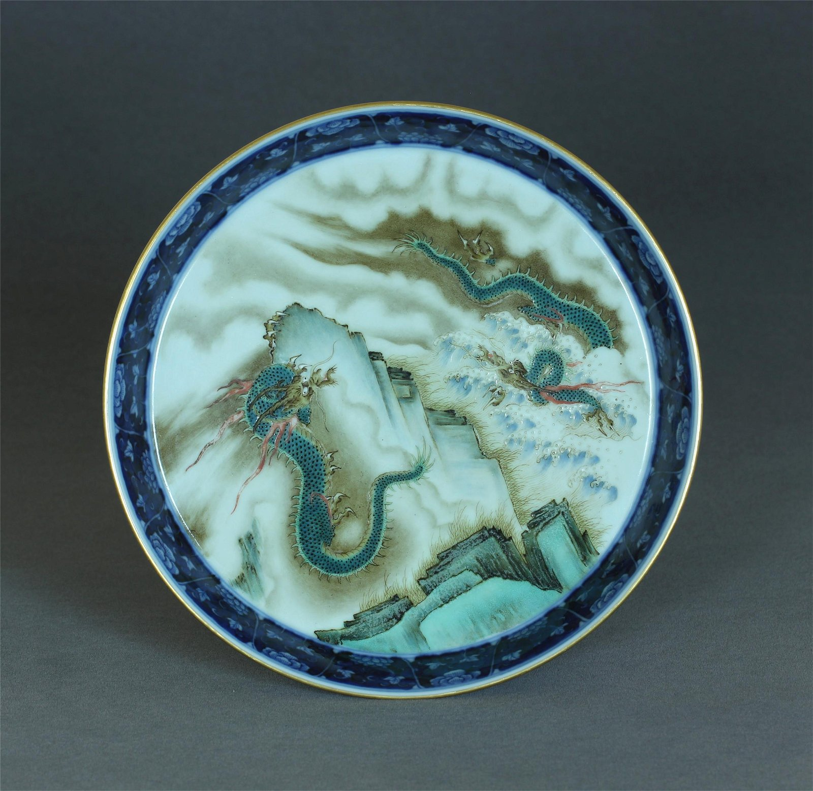 A Chinese Blue And White & Famille-Rose Porcelain Plate