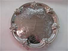 1850 English Silverplate Hand Engraved Round Footed