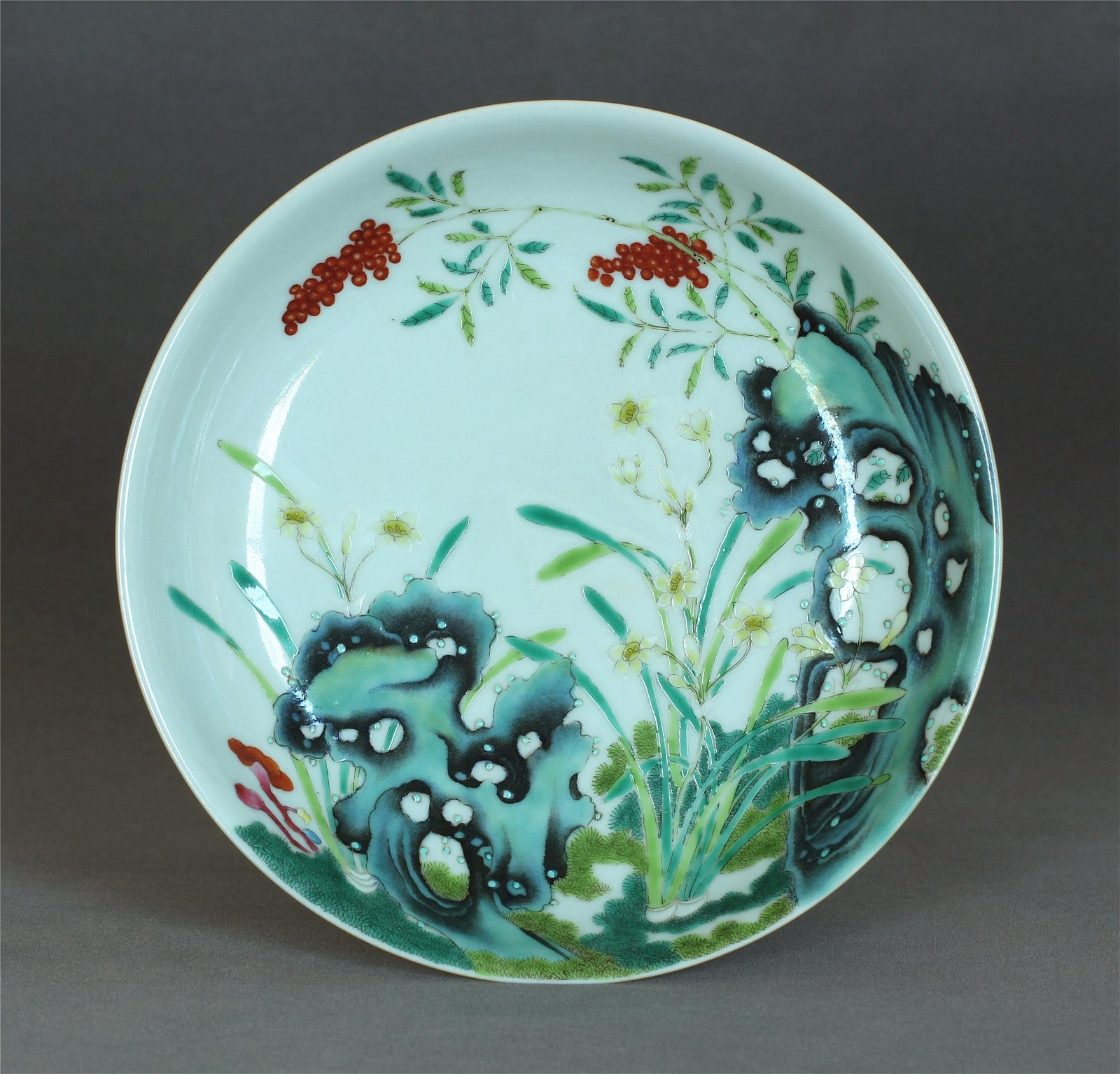 A Chinese Yellow & Famille-Rose Porcelain Plate Qing