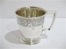 Sterling Silver Antique Floral Baby Cup.