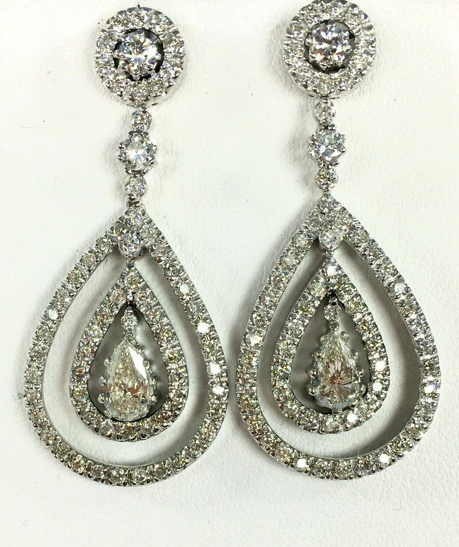 White gold natural DIAMOND pear shape dangle drop
