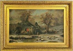Original Antique Oil Painting On Canvas.