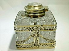 Sterling Silver & Cut Crystal Inkwell.