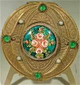 Gold Jeweled Painted Enamel Mirrored Compact Box