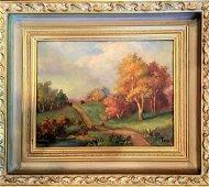 Original Oil on Board Country Landscape Gold Guild