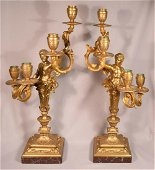 Pair of Antique Male Angels Gilt Bronze 4 Light