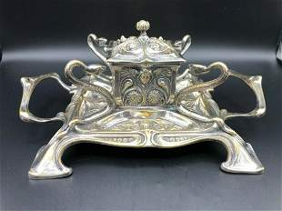 Antique Victorian Silver Plated Inkwell w/4 Snakes, 10