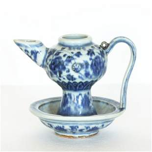 A Chinese antique blue and white porcelain pot.