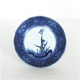 A Chinese blue and white porcelain small plate.