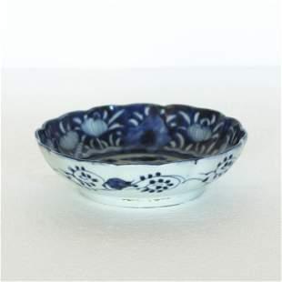 An antique Chinese blue and white porcelain shallow