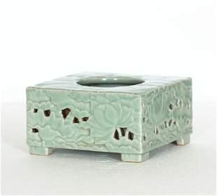 A Chinese Antique Bean-Cyan Glaze Porcelain Square