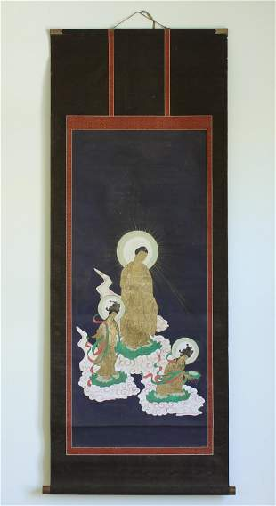 A Chinese Antique Scroll Hand Painting, with wooden