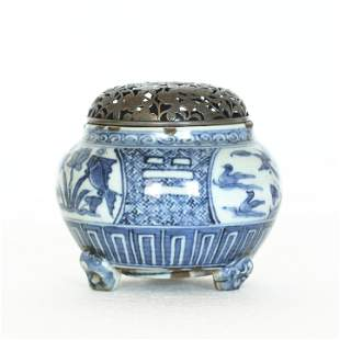 A Chinese antique blue and white porcelain censer with