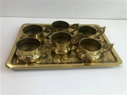 Set of 6 Jerusalem Copper (Brass Tone) Coffee Cups